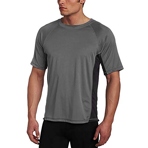 (FEDULK Men's Slim Stretch Tee Color Block Short Sleeve O Neck Lightweight Casual T-Shirt Blouse(Gray, XX-Large))