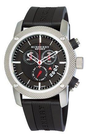 SALE! Authentic Burberry Sport Swiss Chronograph Watch Unisex Men Women Black Rubber Silicone Black Date Dial BU7700