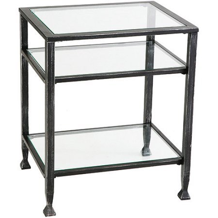 Metal 3-Shelf End Table (Glass Shelves Narrow)