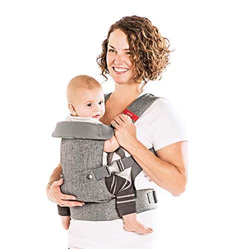 You+Me 4-in-1 Convertible draagzak met 3D Cool Air Mesh – Heather Grey – Draag met een pasgeboren zo klein als 3,6 kg…