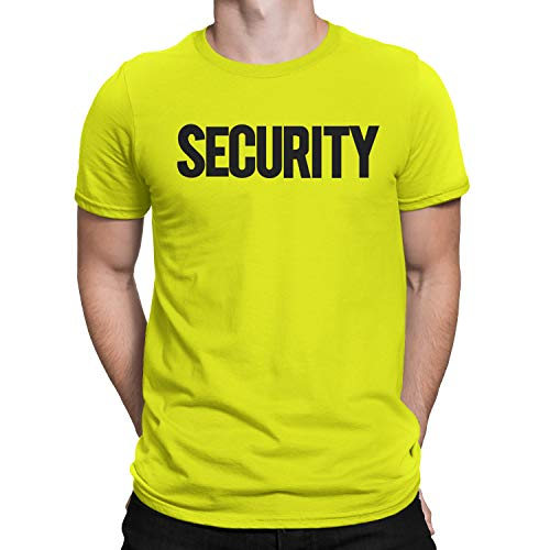 NYC FACTORY Security T-Shirt Front Back Print Mens Tee Staff Event Uniform Bouncer Screen Printed (Neon-Black, 2XL)