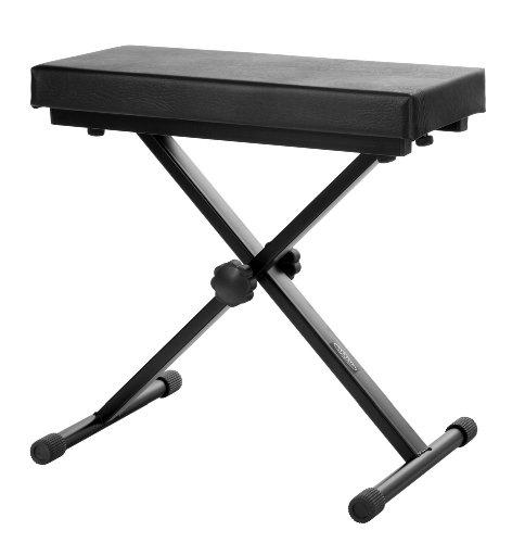 Classic Cantabile Keyboardbank Deluxe schwarz (5cm Schaumstoffpolsterung, 4-stufig höhenverstellbar, zusammenklappbar, stabil, leichte Montage)