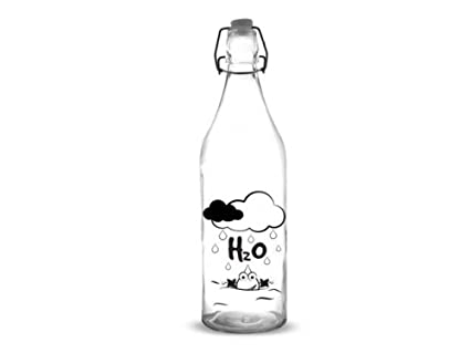 Botella Alta 1l Tapon Decorado Agua H2o