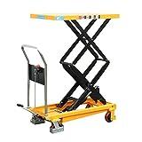 HUYI Hydraulic Double Scissor Lift Cart Table Truck, 770 lb. Capacity, Yellow