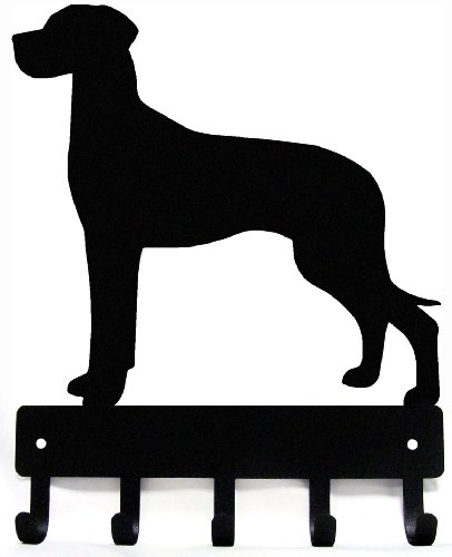 Great Dane (Natural ears) Key Rack/ Dog Leash Hanger with 5 hooks- Small 6 inch wide