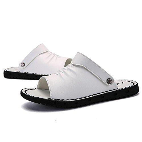 Beach pelle 43 morbido Shoes Colore esterno Toe Outdoor in 44 dimensioni vera confortevole antiscivolo Bianca 39 Uomo Bianca Slipper Sandalo Size Summer Open progettato BwSS7qIfF