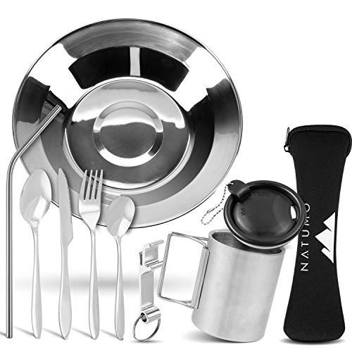NATUMO® Camping-Geschirr Besteck aus Edelstahl Leichte Reinigung Kompakt Geschirr-Set Leichtes Reisebesteck Kochset…