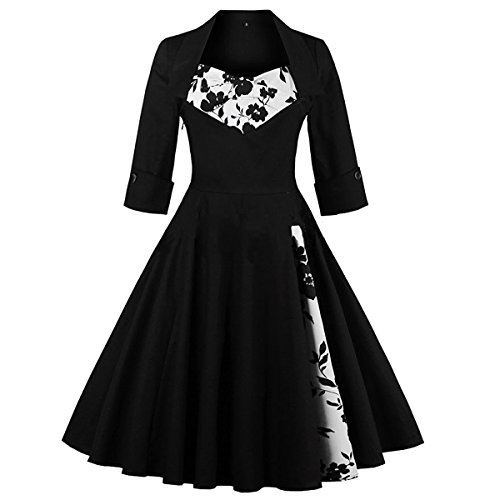 Spring Casaul Dresses Vintage Dresses 1920 Plus Size 50's Prom Dress Cocktail Dress 3/4 Sleeve Printed Flora, Black (Plus Size Teen)