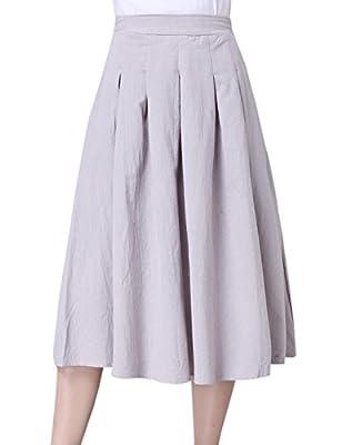Tanming Women's Elastic Waist Below Knee A-Line Pleated Linen Midi Skirt