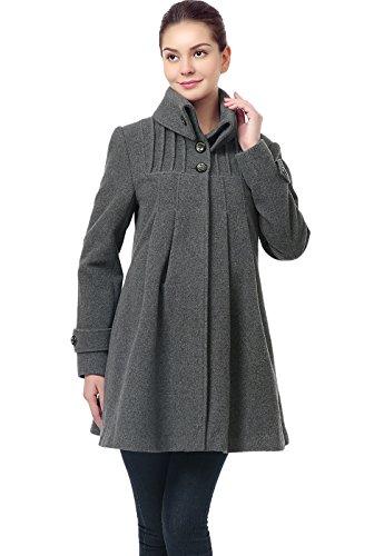 Momo Maternity Women's Wool Blend Pleated Swing Coat - Gray (Blend Swing Coat)