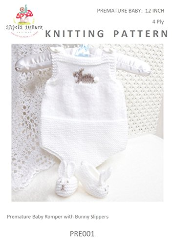 Premature Baby Romper And Bunny Slippers Knitting Pattern To Fit 12
