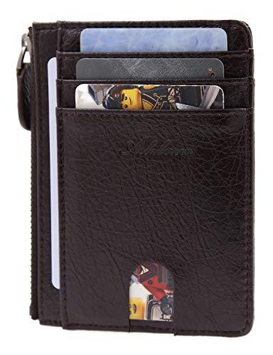 AslabCrew Minimalist Genuine Leather Zipper RFID Blocking Front Pocket Wallet, Slim Card Wallets, Savage-DarkBrown