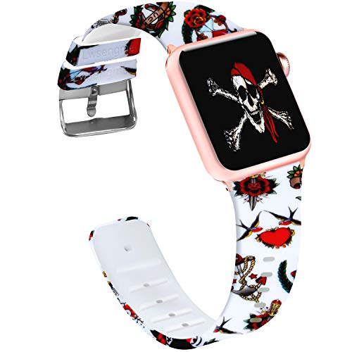 (Lwsengme Compatible with Apple Watch Band 38mm/40mm, 42mm/44mm,Soft Silicone Flower & Skull Pattern Replacement Bands Compatible with iWatch Series 4/3/2/1,Watch)