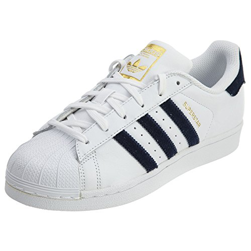 Adidas Originals Womens Superstar Mode Sneakers Vit / Marinblå / Svart