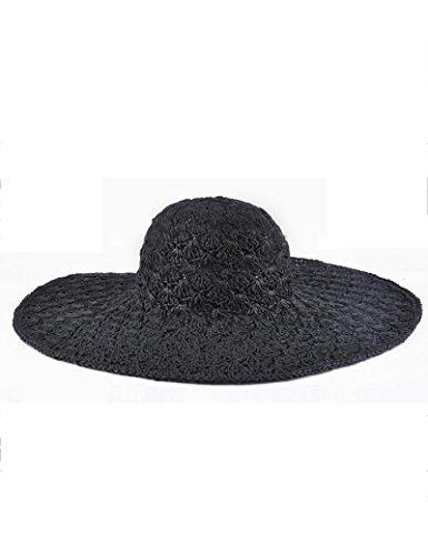 Chapeau de soleil d'été Femelle été Fait main Chapeau de paille Crème solaire chapeau de soleil de plein air Plage Grand brim chapeau Pour les voyages de plage sortants