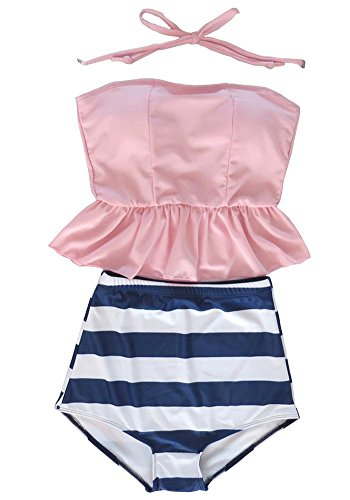 Sandbank Women's Stripes Padded Halter Tankini High Waisted Swimsuit