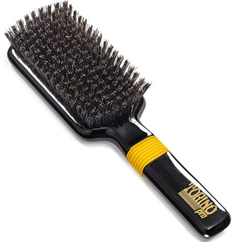Torino Pro Medium Hard Wave Brush By Brush king - #1560 - Rubber grip Vertical Brush - 9 rows - 360 Wave brushes - Great For connections and Wolfing