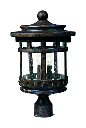 Maxim 3136CDSE Santa Barbara Cast 3-LT Outdoor Pole/Post Lantern, Sienna Finish, Seedy Glass, CA Incandescent Incandescent Bulb , 60W Max., Dry Safety Rating, Standard Dimmable, Frosted Glass Shade Material, Rated ()
