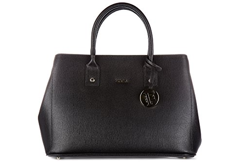 Furla women's leather handbag shopping bag purse linda black