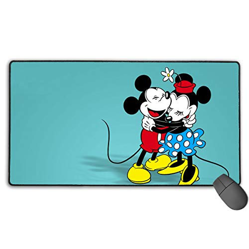 (WSXEDC Mickey and Minnie Love Large Mouse Pad with Functional Non-Slip Rubber Base and Stitched Edges Ideal for Desk Cover/Computer Keyboard/PC and Laptop)