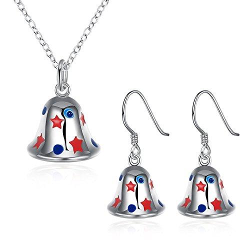 Christmas Gifts Silver Plated Bells Dangle Earrings Necklace Women Girls Jewelry Sets (LKNSPCS920-A)