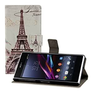 Cerhinu Chic leather wallet case for the Sony Xperia Z1 with convenient stand function - MOTIF City design (Paris)! -...