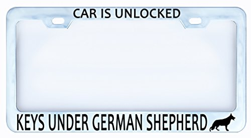 CAR Is Unlocked Keys Under German Shepherd Dog Paw License Plate Frame Tag ()