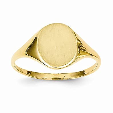 Solid 14k Yellow Gold Signet Engravable Plate Ring (2 to 10mm)