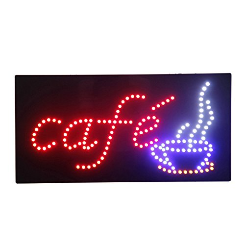 HIDLY LED Cafe Coffee Espresso Open Light Sign Super Bright Electric Advertising Display Board for Message Business Shop Store Window Bedroom 19 x 10 inches