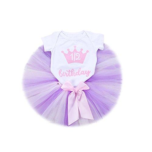 (Baby Girls Skirt Set 1st Birthday Handmade Tutu Skirt 3PCS Romper Skirt and Headband (Pink, S(3-6m).))