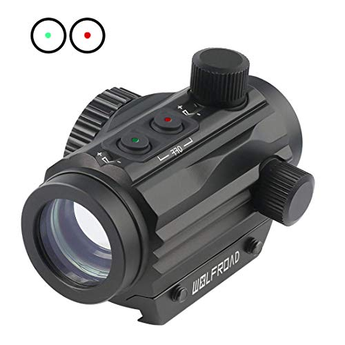 Wolfroad 1x22mm Red Green Dot Sight,Reflex Tactical Rifle Scope Wide Field of View for Hunting w/Aircraft Grade Aluminum Alloy Tube Red/Green Reticle with Circle Dot Micro Rifle Scope (Best Affordable Reflex Sight)