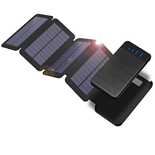 Solar Cellphone Charger, X-DRAGON 10000mAh Detachable Solar Power Bank Solar Phone Charger with 4 Solar Panels, LED light, Dual USB Waterproof Foldable Portable Battery Pack Phone Charger for iPhone, ipad, Samsung, Cell Phone, Outdoor, Camping, Travelling