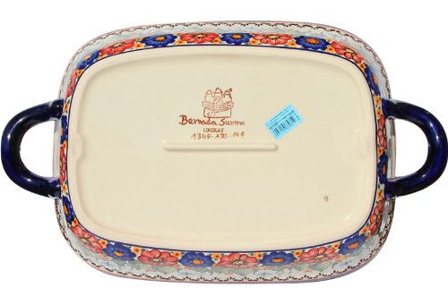 18 with Handles 18 with Handles Depth: 2.5 Width: 11 Length: 14.5 Polish Pottery Baking Dish with Handles From Zaklady Ceramiczne Boleslawiec #1345-149 Art Signature Unikat Pattern Depth: 2.5 Width: 11 Length: 14.5