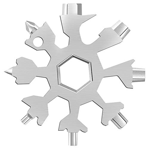 Desuccus 18-in-1 Snowflake Multi Tool, Stainless Steel Snowflake Bottle Opener/Flat Phillips Screwdriver Kit/Wrench, Durable and Portable to Take, Great Christmas gift(Standard, Stainless Steel)