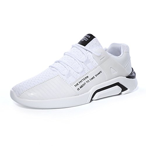 JOYTO Herren Laufschuhe Sport Leicht Beiläufige Turnschuhe Wasserdicht Draussen Sommer Sneaker Schwarz Grau Weiß 39-46 Weiß