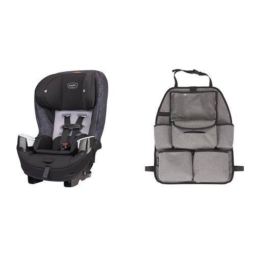 Evenflo Stratos 65 Convertible Car Seat, Boulder with Deluxe Car Backseat Organizer, Grey Melange ()