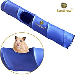"Hamster Tunnel (1 pc) --- Works Alone or Attach to Tunnels - Exciting & Safe Entertainment - Flexible, Soft Fabric Activity Center Extends 35"" - Three 5.9"" Openings for Hamsters, Mice, Rats & Gerbils"
