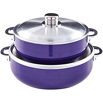 IMUSA USA CHI-80680 2 Piece Purple Caldero (Dutch Oven Set with Aluminum Lid (4.4Qt, 6.9Qt) Oven Safe