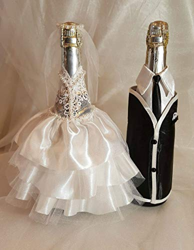 Bride and Groom Wine Bottle Covers- Wine bottle dress-up for Weddings- Wedding Gifts For the Couple- Fun Wine Bottle Covers- Wedding Centerpieces Decorations- Wine décor- wine accessories (white)