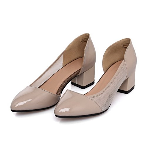 VogueZone009 Womens Closed Pointed Toe Kitten Heel Chunky Heels PU Soft Material Solid D-orsay Pumps, Apricot, 5.5 UK