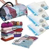 Hotdeal Market Space Saver Vacuum Seal Clothes Storage Organizer Bags 9 pcs set,4 bag 70x100 cm, 4 bag 60x80 cm, 1 Pump