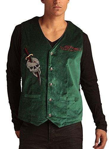 Ed Hardy Mens Cobra Embroidered Velvet Vest - Forest - Small
