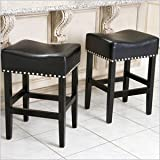 Noble House Miranda Backless 26″ Counter Stool in Black (Set of 2) For Sale
