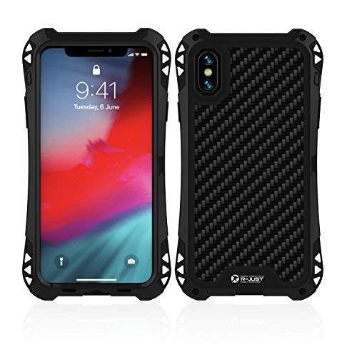 iPhone XS Max Case,Bpowe Heavy Duty Armor Military Hard Cover Proof Carbon Fiber Zinc Magnesium Alloy Metal Gorilla Glass Shockproof Protection Case for Apple iPhone XS Max 6.5inch 2018 (BlackBlack)
