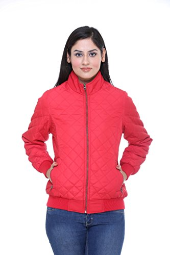 Trufit Full Sleeves Solid Women #39;s Red Quilted Polyester Bomber Biker Jacket