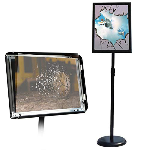 - GUOHONG Sign Holder Aluminum Poster Stand ,Adjustable Stand Height, Poster Frame Revolvable To Either Horizontal or Vertical View Display, Round Base (Black 11x17 inches)