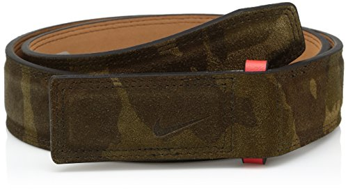 Plaque Palm - Nike Men's Sleek Modern Covered Plaque Belt W/Camo Suede, palm green/max orange 38