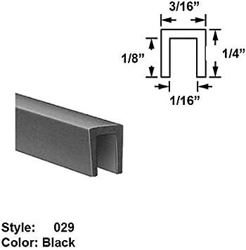 """Neoprene Rubber U-Channel Push-On Trim Ht 10 ft 5//16/"""" x Wd Black 1//4/"""""""