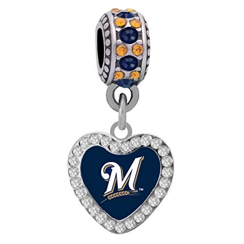 Brewers Milwaukee Heart - Final Touch Gifts Milwaukee Brewers Crystal Heart Charm Fits European Style Large Hole Bead Bracelets