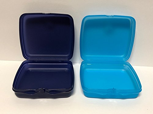 Tupperware 2pc Sandwich Keeper Squares Indigo and Azure Blue